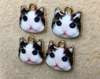 Black and White Cat Charms Single Sided Animal Charms with Gold Plating 13x13mm 4 pcs