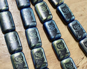 6 Metallic Blue Laser Rectangle Owl Beads Czech Glass Beads Double sided 20mm x 13mm 6 beads