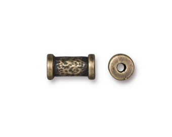Hammered 10mm Tube Bead Oxidized Brass PlateTierraCast Lead Free Pewter Spool Bead 2mm Hole F177A