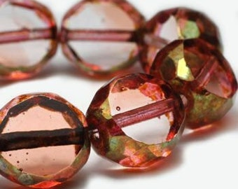 Salmon with Brass Luster Table Cut 12mm Faceted Czech Pressed Glass Rounds 15 beads