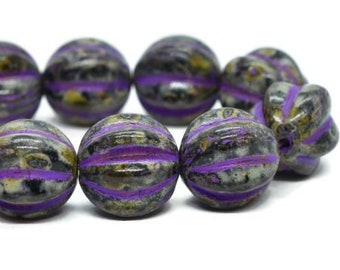 Melon Beads Black with Picasso Finish and Purple Wash Czech Pressed Glass Round Corrugated Melon Beads 12mm 15 beads