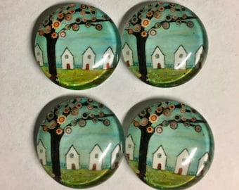 4 Tree with Flowers Flat Back Glass Dome Cameo Jewelry Cabochon Pendant 20mm Round 4 pcs