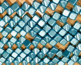 Pastel Aqua Two Hole Silky Czech Pressed Glass 6mm Two Hole Angled Square Beads 40 pcs