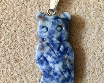 Sodalite Gemstone Owl Pendant with Bail Double Sided 43mm x 22mm 1 pendant