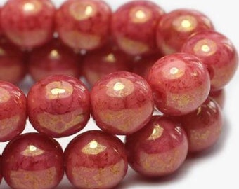 Rosewood Pink 6mm Czech Pressed Glass Round Druk Beads 6mm 30 beads