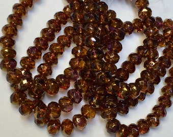 Amber Gold Luster Czech Pressed Glass Medium Faceted Rondelles 5mm x 7mm 25 beads