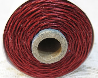 Country Red Waxed Linen Cord 4 ply 10 yards for Macrame Kumihimo Knotting