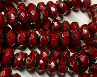 25 Dark Garnet Red Picasso Czech Pressed Glass Large Faceted Rondelles 6mm x 8mm 25 beads