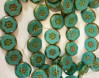 6 Green Turquoise Chunky Czech Pressed Glass Carved Flower Coin Table Cut Beads with icasso Finish 14mm