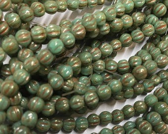 Melon Beads Green Turquoise with Picasso Czech Pressed Glass Round Beads 4mm 50 beads