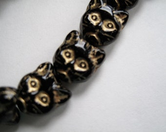 Kitty Cat Face Beads Jet Black with Gold Inlay 13mm Czech Pressed Glass Beads Here Kitty Kitty 25 beads