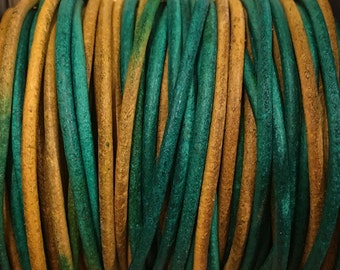 2mm Gypsy Dyed Berol Leather Cord Green Gold 2 yards for Wrap Bracelets Macrame Knotting Jewelry
