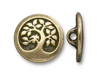 Bird in a Tree Button TierraCast Antique Brass 17mm One Button