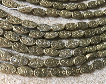 Antique Brass Plated Pewter Flower Patterned Oval Beads Double Sided 11x6mm 19 pcs