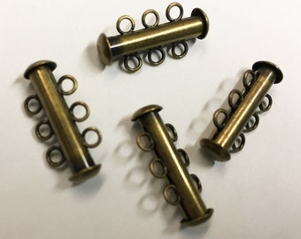 Slide Clasps Antique Bronze 3 Strand Antique Brass Slide Clasp 21mm x 6mm Slide Tubes 4 clasps F300B