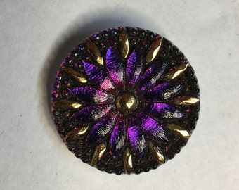Large Purple Sapphire Vitrail 12 Petal Flower Button Czech Glass with Gold Detail and Criss Cross Hole 31mm