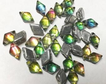 Diamonduo Prismatic Tropics Pressed Glass Diamond Duo Two Hole Seed Beads 5x8mm 50 beads