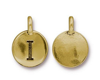 "Letter ""I"" Initial Pendant Tiny Gold Charm TierraCast Antique Gold Alphabet Charms TierraCast Lead Free Pewter 16.5x11.5mm One Charm"