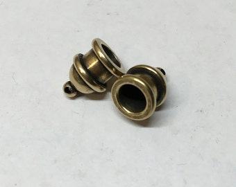 Cord End Tierra Cast Antique Brass Pagoda Recessed Channel for Leather Kumihimo 6mm ID 2 pcs