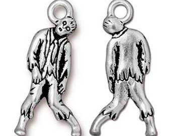 2 Zombie Charms Antique Silver Living Dead Spooky Pendant Charm TierraCast Lead Free Pewter 26mm x 12mm 2 pcs F397EA