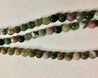 Indian Agate 6mm Faceted Rounds 8 Inch Strand Approx. 31 pcs