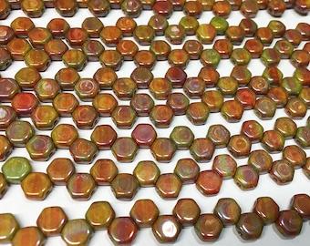 Honeycomb Beads Orange Nebula Czech Pressed Glass Hexagon Two Hole Beads 6mm 30 beads