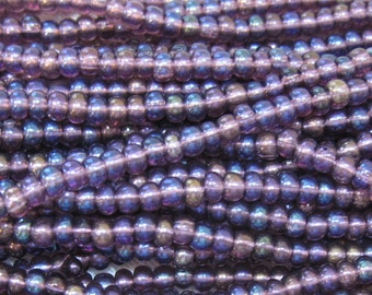 6/0 Amethyst AB Genuine Preciosa Czech Glass Seed Rocaille Beads One Strand 11 grams