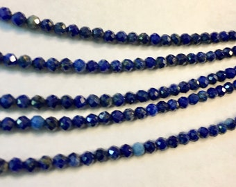 Lapis 3mm Faceted Gemstone Round Beads Approx 60 Beads