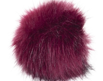 Extra Large Imitation Fur Faux Burgundy Fur Pom Pom Ball with Loop for Craft Projects Hat Decoration Knitting Crochet 127mm 5 inches
