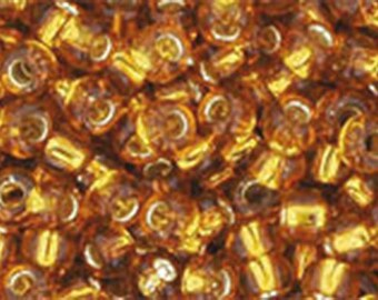 8/0 Silver Lined Topaz Toho Glass Seed Beads 2.5 inch tube 8 grams TR-08-22C