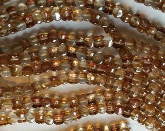 Pellet Beads Transparent Venus Half Coated Czech Pressed Glass Pellets 4x6mm 30 beads