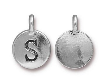 "Letter ""S"" Initial Pendant Tiny Silver Charm TierraCast Antique Silver Alphabet Charms TierraCast Lead Free Pewter 16.5x11.5mm One Charm"