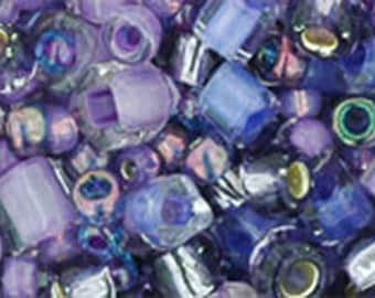Purple Green Mix Toho Glass Seed Beads 2.5 inch tube 8 grams TX-01-3207