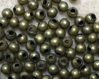 100 Antique Brass Plated Smooth Round Beads 3mm Made in the USA F456