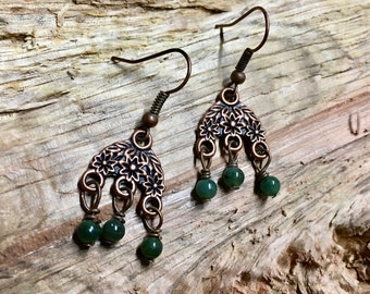 Boho Antique Copper Green Jade Vintage Inspired Earrings with Floral Filigree Pattern Triple Dangle Jade Stones