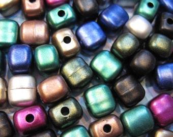 Acrylic Bead Metallic Color Mix 10mm x 9mm Square Cube Shapes Bag of 1.3 ounces Last Ones