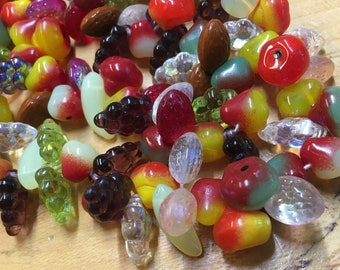 50 Fruit Beads 3D Fancy Colorful Mixed Fruit Czech Pressed Glass Beads 8mm to 12mm Grapes Banana Pear Strawberry Apple Almonds 50 Beads