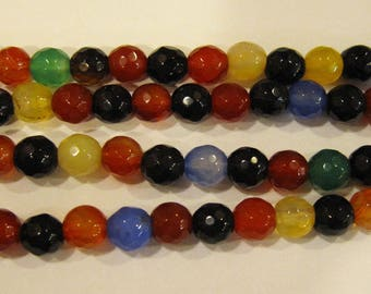 Agate Mixed Rainbow Colors Faceted Round Gemstone Beads 6mm Approx 34 Beads Per 8 Inch Strand