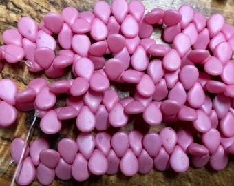 Clearance Pip Pastel Pink Matte Satin Czech Pressed Glass Drop Beads 5x7mm 35 pcs