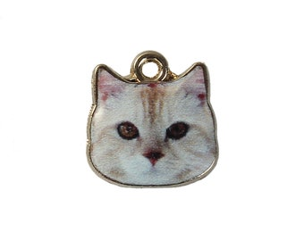 White Cat Charms Single Sided Animal Charms with Gold Plating 13x13mm 4 pcs