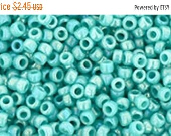 ON SALE 15/0 Opaque Rainbow Turquoise Toho Glass Seed Beads 2.5 inch tube 8 grams TR-15-413