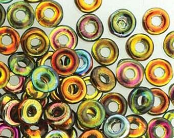 O Beads Magic Copper Czech Glass Donut Ring Beads 3.8 x 1mm 8.1 grams