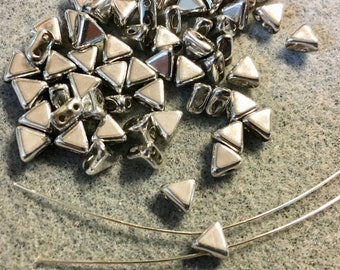 Kheops Par Puca Argentees Silver Two Hole Triangle Czech Pressed Glass 6mm x 6mm 9 grams