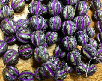 10mm Melon Beads Black with Purple Wash Picasso Finish Czech Pressed Glass Round Corrugated Melon Beads 10mm 15 beads