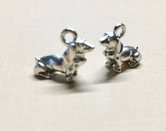 Dachshund Dog Silver Plated Charm Pendant Double Sided Dog Charm 15mm x 20mm Made in the USA One Charm