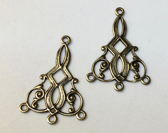 6 Fancy Filigree Antique Brass Stamping Delicate Swirls Floral Earring Drops Vintage Style 15x25mm 3 Loops 6 pcs
