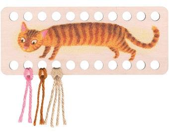 "Orange Striped Cat Embroidery Floss Thread Organizer Wood Floss Separator 8-3/4"" x 3-1/2"""