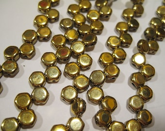 Honeycomb Beads Full Amber Mirror Honeycomb Czech Pressed Glass Hexagon Two Hole Beads 6mm 30 beads HC0600030-26440