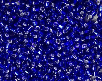 8/0 Silver Lined Cobalt Blue Japanese Glass Rocaille Seed Beads 6 Inch tube 28 grams #20