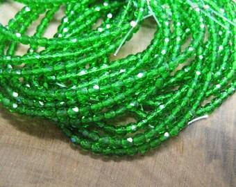 Emerald Green Transparent Czech Firepolished Glass Crystal Beads 4mm